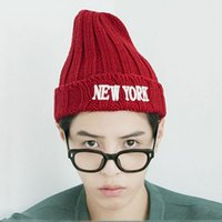 Wholesale Unisex Autumn and winter letter embroidered wool knit hat pointy printing color stitching Casual tie dyed warm Cloches hat