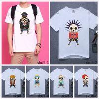 Wholesale Men Fashion Summer Cool Cartoon Funny Skull Print T shirt Creative White Short Sleeved T Shirt Boy Casual Clothing Top