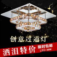 Wholesale 36W Crystal Ceiling Light Flush Mount K9 Crystal Chancelier European AC85V V Living Room Lamp Lighting Fixtures Aisle Lights