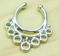 Wholesale 0610 Nose Ring nose hook Nose Rings Body Piercing Jewelry Fake Septum Clicker Non Piercing Hanger Clip On Women Body Jewellry