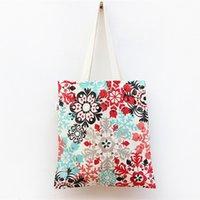 art shopping bags - New Handmade Cotton Cloth Bag Fresh Fan Art Youth Environmental Protection Flower Print Shopping Bag Totes for Women by DHL EMS