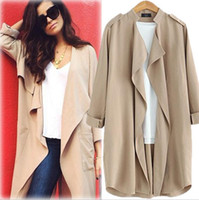 Wholesale New Summer Loose Style Rolled Sleeve Wide Lapel Epaulet Solid Color Length Linen Trench Coats Sun Protection Cardigans Outwear DR438