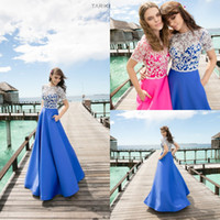 beaded short round - 2016 Tarik Ediz Prom Dresses Round Neck Short Sleeve A Line Appliques Lace Beaded Satin Skirt Formal Evening Party Dress