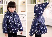 Wholesale baby girl Winter children s clothing female child thickening with a hoodie wadded jacket girl rabbit outerwear cotton padded jacket