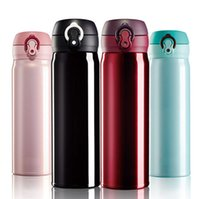 Wholesale Creative Automati Travel Mug Stainless Steel Water Bottle Lock Catch Vehicle Mug Thermal Insulation Vacuum Flask For Hot or Cold Drink