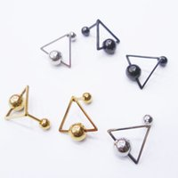 bars earrings - Colors Gold Silver Black Triangle Ball Bar Earrings Vintage Stud Earrings For Women Ladies Jewelry Accessories BJ703