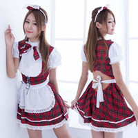 Wholesale Fashion Woman Lovely Grid Cosplay Lolita Skirt Cute Elegant Dress