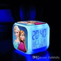 Wholesale 2016 Frozen Electronic Alarm Clock In Stock LED Colors Change Digital Frozen Anna and Elsa Thermometer Night Mix Shipping