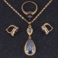 Wholesale Jewelry Sets K Gold Plated Rainbow Mystical Fire Topaz Earrings Ring Pendants Chain For Women A0014