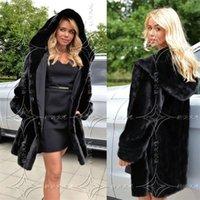artificial fur vest - 2016 S XL Women Winter Hooded Fake Fur Coats Plus Size Artificial Black Faux Fox Fur Coat With Hood