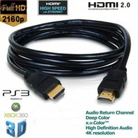 al por mayor vga cable ethernet-3M OD 5.5MM 2160P HDMI 2.0 Cable V2.0 para 3D HDTV con Ethernet 24K Oro plateado 4K X 2K Way