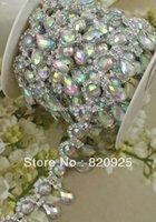 achat en gros de appliques en strass garniture cour claire-Vente en gros-1 Yards Clear Rhinestone AB Crystal Diamante Costume Applique Coutures WB80