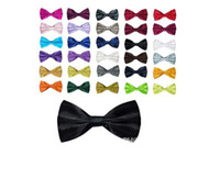 Wholesale Men s Women s Bowtie Bow Tie Solid Colors Plain Silk Polyester Pre Tied Ties For Party Wedding Fx35