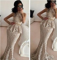 Wholesale New Elegant Mermaid O Neck Sleeveless Formal Evening Gown Floor Length Long Lace Evening Dresses With Sashes Prom Party