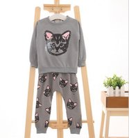 Wholesale 2016 hello kitty girls clothing sets kids clothes little cat baby girl and boy long sleeve cotton set