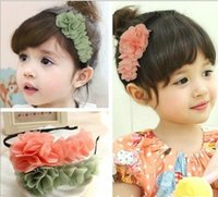 Wholesale Hot Sale Fashion Cute Chiffon Floral Baby Girls Hairbands Girls Party Hair Accessories