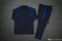 Wholesale Top quality blue Training suit Men sport wear Training Soccer suit Neymar Messi Soccer sets survetement football t shirt pan