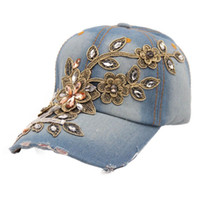 best ladies jeans - Best Deal Good Quality New Fashion Women Diamond Flower Baseball Cap Summer Style Lady Jeans Hats