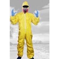 Wholesale Breaking Bad Hazmat Lab Walter Yellow Jumpsuit Halloween Cosplay Costume with Half Mask Gloves