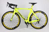 Wholesale RB1K Light Yellow Complete bikes with T1100 K carbon road bike frames mm road bike carbon wheels