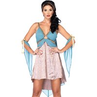 adult greek costumes - Blue Fantasia Feminina Carnival Party Club Wear Fancy Greek Goddess Dress Adult Cosplay Costume Halloween Sexy Female Costumes