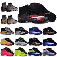 Wholesale Kids Soccer Cleats Shoes Mens Mercurial Superfly FG TF CR Football Boots Women High soccer boots Youth breathable football shoes eur