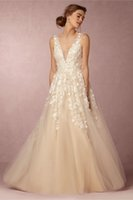Wholesale Sexy Cream Gown - 2016 cream wedding dresses 3d floral appliques pearls and sequins beaded sheer neckline floor length tulle wedding gowns