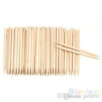 Wholesale 100Pcs Wood Sticks Cuticle Pusher Remover Pedicure Manicure Tool Nail Art Equipment Health Beauty Sale O5G