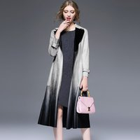 Wholesale European autumn suede new high end suede gradient lapel lace jacket Trench Coats