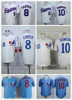 Wholesale Gary Carter Andre Dawson Montreal Expos Throwback Jersey Blue White Men Montreal Expos Baseball Jerseys