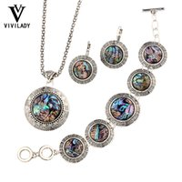 abalone shell earrings - viviLady Natural Abalone Shell Jewelry Set Women Vintage Silver Plated Chain Necklace Earrings Bracelet Love Wedding Bijoux Gift