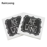 aged paper - RainLoong Plys Beverage Paper Napkin Age Get Better With Wine Party Supply Tissue Napkin Serviettes Decoupage cm cm