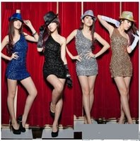 Wholesale nobody shoulder Cars singer stage clothes sequins DS costumes dance clothes Slim package hip skirt dress Ms