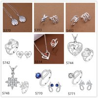 La joyería de la plata esterlina de la piedra preciosa de las mujeres del grado alto fija 6 sistemas mucho estilo mezclado EMS64, joyería de plata del anillo del pendiente del collar de la manera 925 fijada