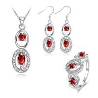 american diamond earrings designs - Wedding fashion Hollow design silver necklace earring ring a famliy of three jewelry sets sterling silver red gemstone set GTFS082C
