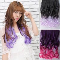Wholesale Color gradient color streaked hair piece long wavy hair slightly curled hair piece piece five clip hair extension piece a Free Post
