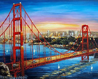 bay life - Golden Gate Bridge Sunrise San Francisco Bay Pure Hand Painted Art Oil Painting Canvas any customized size accepted John