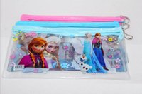 Wholesale Frozen pencil bags elsa anna pvc pencil case frozen transparent pencil case pencil bag zipper stationery school supplies