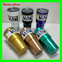 Wholesale New Colors DHL Free Yeti oz Rambler Tumbler Bilayer Cooler Cups Vacuum Insulated Vehicle Coffee Beer Yeti Mugs Cups Golden Black White