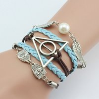 angels jewelry supply - 2016 explosion models jewelry selling Harry Potter and the dove of peace angel wings retro woven bracelet Supply bracelet prepared Christmas