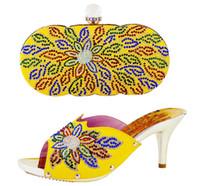 beautiful italian woman - Yellow Fashion beautiful multi color rhinestone High Heels and Handbag italian shoes matching bags set for woman party dress HS002