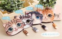 Cheap 100pcs 4 Design 3D Printer Cat face Cat with tail Coin Purse Bag Wallet Girls Clutch Purses Change Purse cartoon handbag case D639
