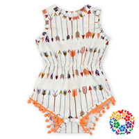 Wholesale 06 Arrow Print Baby Pom Pom Romper Baby Romper Bubble Vintage Infant Floral Romper
