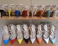 Wholesale 2016 alligator pattern rivets shoes women summer high quality pointed toes high heels sandals thin heels pumps size