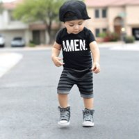 Cheap 2016 summer Children boys Ins outfits letter t-shirt+stripe pants 2pcs set 100% cotton Baby Clothing