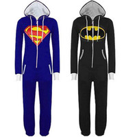 batman adult pajamas - New Unisex Pyjamas Superhero Adult Onesies Mens Women Batman Superman Onesie One Piece Pajamas Sleepwear