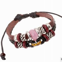 Cheap Bead Bracelets Vintage Leather Bracelet With Personality New Fashion Temperament Joker Beaded Leather Bracelets Bracelets Hand Catenary