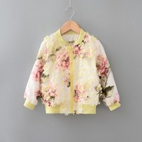 Wholesale 2016 Fashion Autumn Girls Jacket Dimensional Flower Organza Zipper Coat Children Long Sleeve Clothes Colors