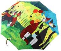 Wholesale 2016 Oil Painting Sun Rain Parasol Compact Three Folding Umbrella Personal NWT