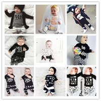 Wholesale 2016 INS Baby Boys Girls Letter Clothing Sets Top T shirt Pants Kids Toddler Infant Cartoon Long Sleeve Suits Children Outfits Gift
